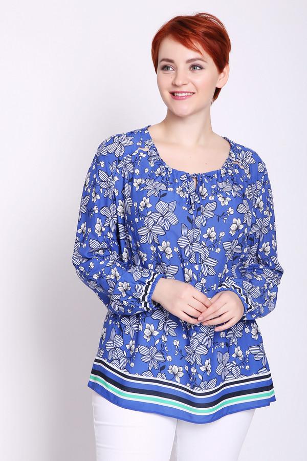 Блузa ErfoБлузы<br>Блуза женская синего цвета бренда Erfo. Модель выполнена прямым фасоном. Изделие дополнено округлым воротом, втачными, длинными рукавами. Низ рукав собран на резинку. Передняя окружность ворота присборена на тесьму. Ткань имеет разноцветный принт. Состав ткани: 100% вискоза. Гармонировать можно с различными деталями вашего гардероба.
