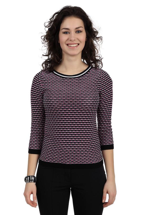 Пуловер PezzoПуловеры<br>Невероятно женственный пуловер от бренда Pezzo. Данное изделие дополнено: круглым вырезом и рукавом длиной три четверти. Свитер связан из нитей разных размеров и цветов, за счет чего создается эффект объемности. Данная модель представлена в черном цвете, с добавлением тонких белых и толстых розовых нитей. Также у выреза есть тонкая белая полоска.<br><br>Размер RU: 46<br>Пол: Женский<br>Возраст: Взрослый<br>Материал: хлопок 17%, полиамид 9%, вискоза 74%<br>Цвет: Разноцветный