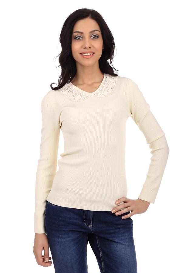Пуловер PezzoПуловеры<br>Элегантный женский трикотажный пуловер молочного цвета. Это пуловер от известного бренда Pezzo. Изделие дополнено v-образным вырезом, который украшен белым кружевом. Также, у данного пуловера длинный рукав. В состав материала, из которого сшит данный пуловер, входит вискоза, полиамид и спандекс.<br><br>Размер RU: 44<br>Пол: Женский<br>Возраст: Взрослый<br>Материал: вискоза 75%, полиамид 23%, спандекс 2%<br>Цвет: Белый