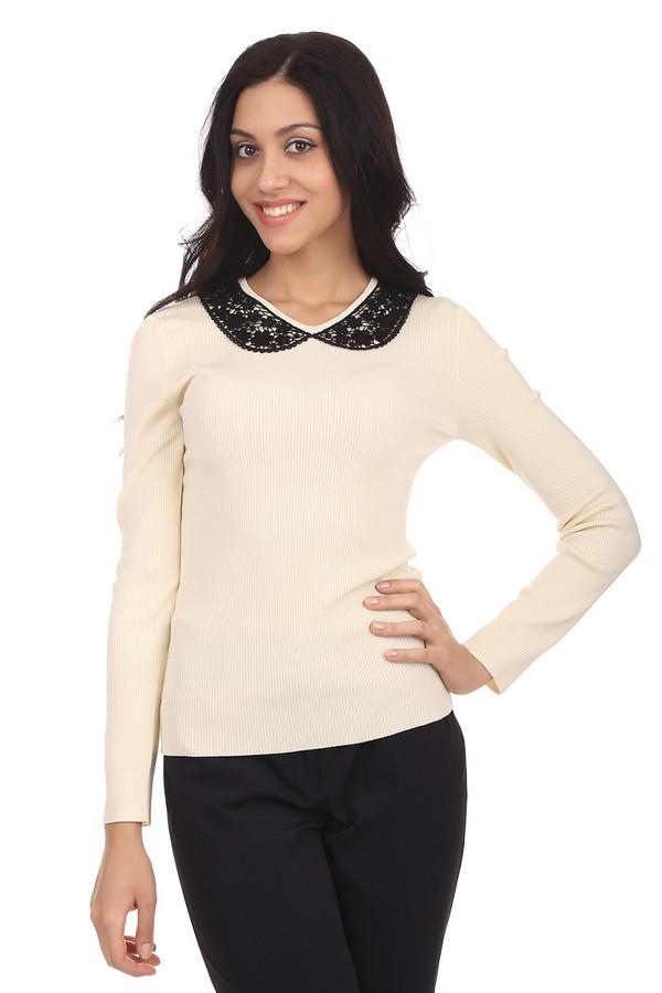 Пуловер PezzoПуловеры<br>Элегантный женский трикотажный пуловер молочного цвета. Это пуловер от известного бренда Pezzo. Изделие дополнено v-образным вырезом, который украшен черным кружевом. Также, у данного пуловера длинный рукав. В состав материала, из которого сшит данный пуловер, входит вискоза, полиамид и спандекс.<br><br>Размер RU: 50<br>Пол: Женский<br>Возраст: Взрослый<br>Материал: вискоза 75%, полиамид 23%, спандекс 2%<br>Цвет: Бежевый