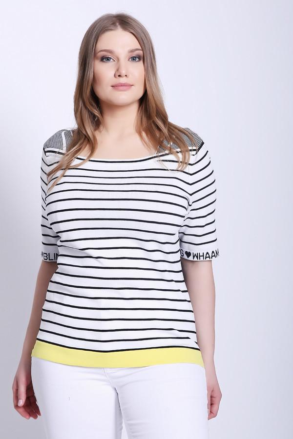 Пуловер OuiПуловеры<br>Пуловер женский белого цвета фирмы Oui. Модель выполнена прямым фасоном. Изделие дополнено округлым воротом, втачными, короткими рукавами. По низу пуловера расположена желтая полоса. Ткань имеет полосатый принт. Состав ткани: 65% вискоза, 15%полиамид. Комбинировать можно с различными брюками.