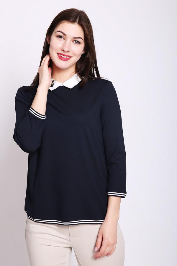 Пуловер Betty BarclayПуловеры<br>Пуловер женский синего цвета фирмы Betty Barclay. Модель выполнена прямым фасоном. Изделие дополнено откладным воротом, втачными рукавами 3/4 длины, задняя застежка на пуговицу. На вороте расположена брошь. Рукава и низ пуловера обшит бейкой с полосатым принтом. Ткань состоит из 3% эластана, 80% вискозы, 17% полиэстера. Гармонировать можно с различными брюками, юбками.