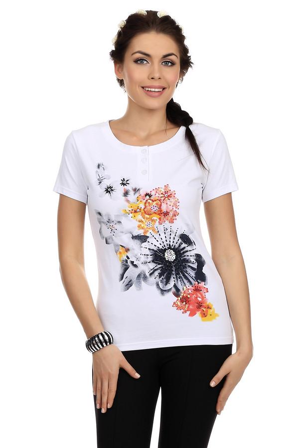 Футболка PezzoФутболки<br>Летняя женская футболка, представлена торговой маркой Pezzo в белом цвете с крупным цветочным принтом в оранжевой, желтой, черной и серой цветовой гамме, украшенным пайетками и бисером спереди. Принт в такой же тематике изображен внизу на спине. Данное изделие дополнено короткими рукавами и круглым вырезом с планкой на трех пуговицах. Состав модели - хлопок с добавлением спандекса.<br><br>Размер RU: 40<br>Пол: Женский<br>Возраст: Взрослый<br>Материал: хлопок 95%, спандекс 5%<br>Цвет: Разноцветный