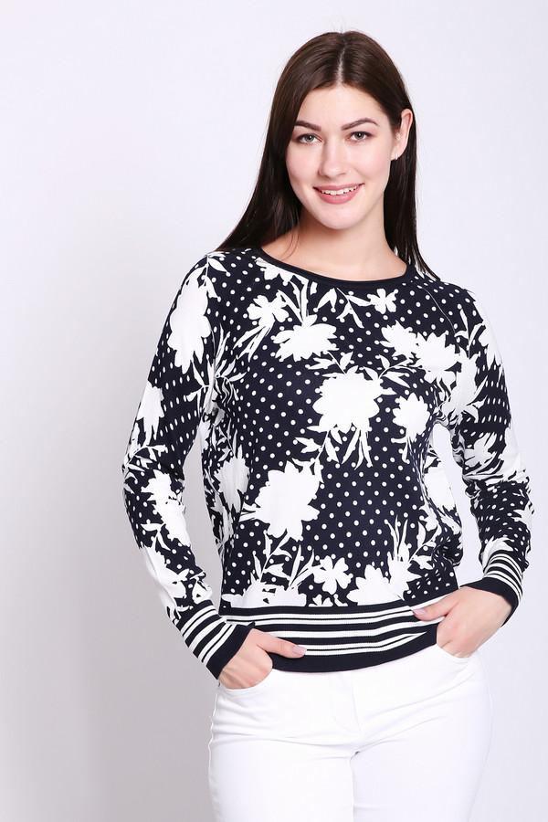 Пуловер Betty BarclayПуловеры<br>Пуловер женский черного цвета фирмы Betty Barclay. Модель выполнена прямым фасоном. Изделие дополнено округлым воротом, втачными, длинными рукавами. Низ пуловера и рукава обшиты тканью с полосатым принтом. Окружность ворота обшиты бейкой черного цвета. Ткань имеет разноцветный принт. Состав ткани: 80% вискоза, 20% полиамид. Гармонировать можно с различными деталями вашего гардероба.