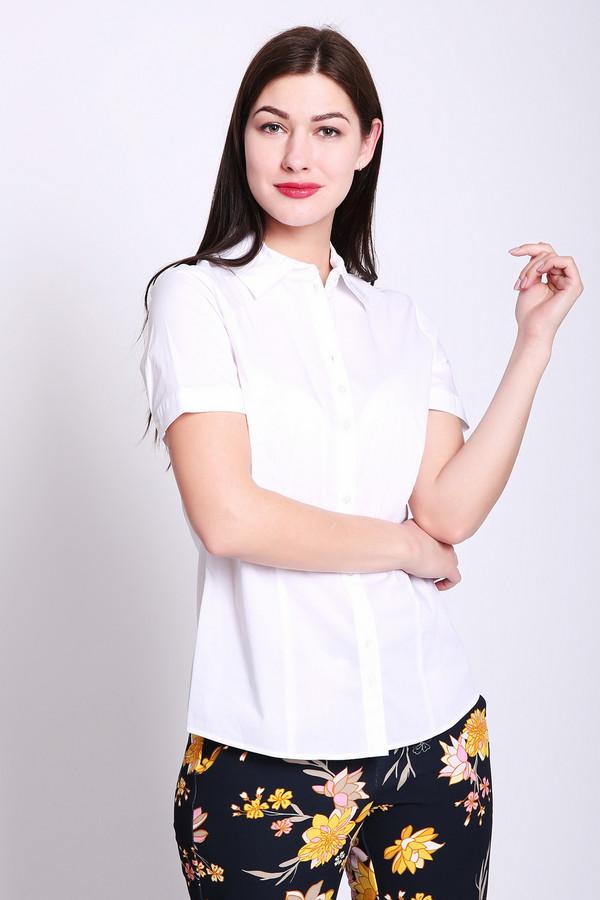 Блузa Gerry WeberБлузы<br>Блуза женская белого цвета фирмы Gerry Weber. Модель выполнена прямым фасоном. Изделие дополнено откладным воротом на стойке, втачными, короткими рукавами, застежка на пуговицы, задними и передними складками. Состав ткани: 3% эластан, 68% хлопок, 29% полиамид. Гармонировать можно с различными брюками, юбками.