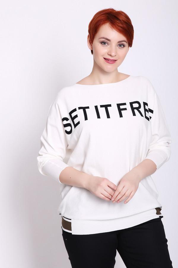 Пуловер TaifunПуловеры<br>Пуловер женский белого цвета от немецкого бренда Taifun. Модель выполнена прямым фасоном. Изделие дополнено округлым воротом, длинными рукавами реглан. Ткань состоит из 72% вискозы, 28% полиэстера. Сочетать можно с различными брюками.