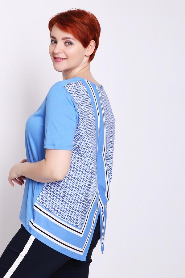 Блузa Gerry WeberБлузы<br>Блуза женская голубого цвета фирмы Gerry Weber. Модель выполнена прямым фасоном. Изделие дополнено округлым воротом, втачными, короткими рукавами, задним V - образным разрезом. Задняя часть блузы имеет разноцветный принт и кроем на угол. Состав ткани: 30% хлопка, 70% тенсель. Гармонировать можно с различными брюками, юбками.