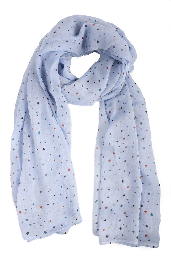 Шарф PezzoШарфы<br>Женский легкий шарф от бренда Pezzo. Это шарф нежно-голубого пастельного оттенка, в звездочки красного, зеленого, синего и серого цвета. Изготовлен из 100% вискозы. Дополнит любой повседневный образ.<br><br>Размер RU: один размер<br>Пол: Женский<br>Возраст: Взрослый<br>Материал: вискоза 100%<br>Цвет: Голубой