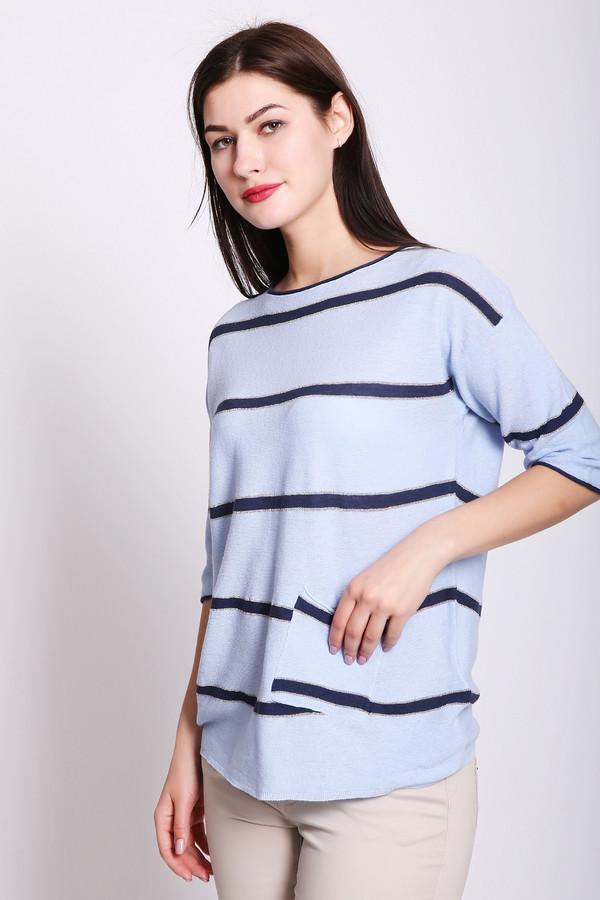 Пуловер Gerry WeberПуловеры<br>Пуловер женский голубого цвета фирмы Gerry Weber. Модель выполнена прямым фасоном. Изделие дополнено округлым воротом, втачными рукавами. Ткань состоит из 51% лен, 42% хлопок, 7% метализир. полиэстер. Гармонировать можно с различными брюками.