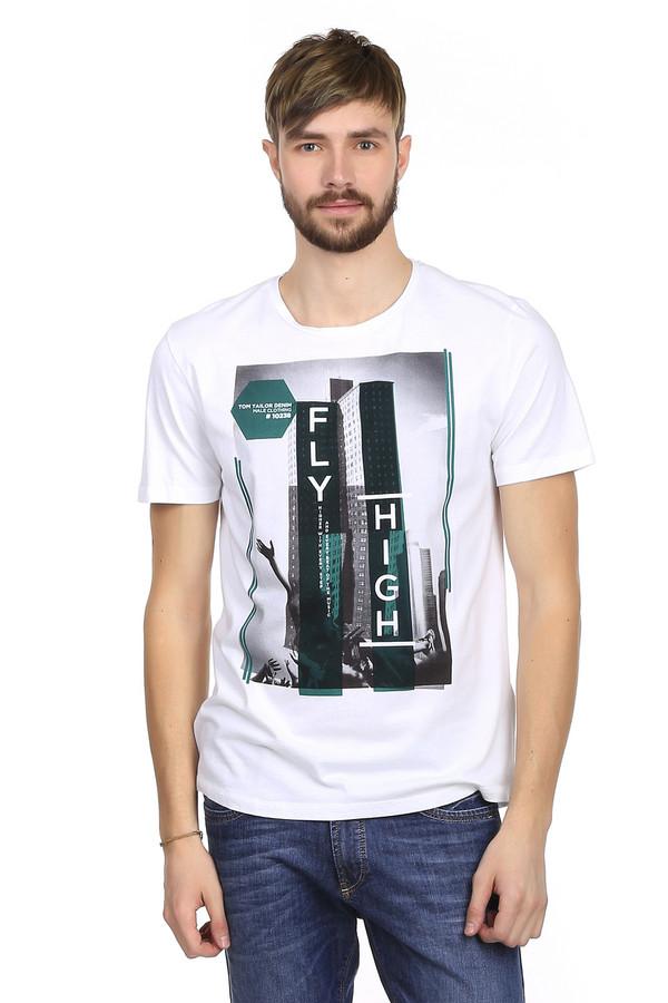 Футболкa Tom TailorФутболки<br>Мужская футболка от немецкого бренда Tom Tailor. Это футболка белого цвета с оригинальным принтом черно-белой фотографии с изображением высотного здания, а также небольшими зелеными вставками. Изделие дополнено: круглым вырезом и короткими рукавами до середины плеча. Эта футболка пошита из материала, который на 100% состоит из хлопка. Футболка выглядит очень стильно и оригинально. В жаркое время года это идеальная одежда на каждый день.<br><br>Размер RU: 50-52<br>Пол: Мужской<br>Возраст: Взрослый<br>Материал: хлопок 100%<br>Цвет: Разноцветный