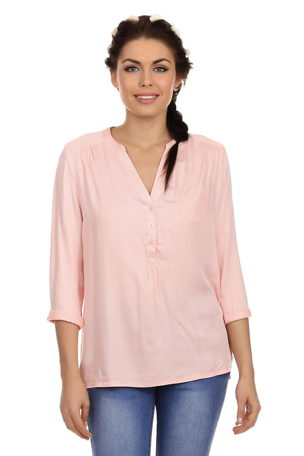 Блузa Tom TailorБлузы<br>Женская блуза бренда Tom Tailor. Это блуза свободного покроя, светло-розового цвета, дополненная глубоким V-образным вырезом на пуговицах и рукавом длиной три четверти. Задняя часть блузы слегка удлиненная. Материал изделия - 100% вискоза.<br><br>Размер RU: 40-42<br>Пол: Женский<br>Возраст: Взрослый<br>Материал: вискоза 100%<br>Цвет: Розовый