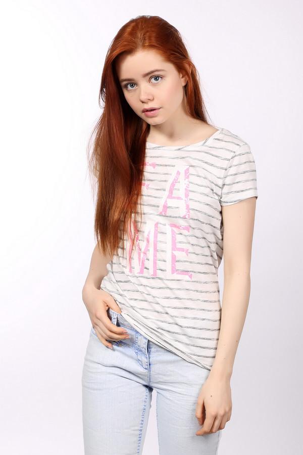 Футболка Tom TailorФутболки<br>Женская футболка белого цвета от бренда Tom Tailor. Изделие дополнено светло-серыми полосками и принтом на надписи на передней его части, которая выполнена в розовых оттенках. Данная модель имеет короткий рукав и круглый вырез. Она пошита из материала, который на 100% состоит из хлопка.<br><br>Размер RU: 40-42<br>Пол: Женский<br>Возраст: Взрослый<br>Материал: хлопок 100%<br>Цвет: Разноцветный