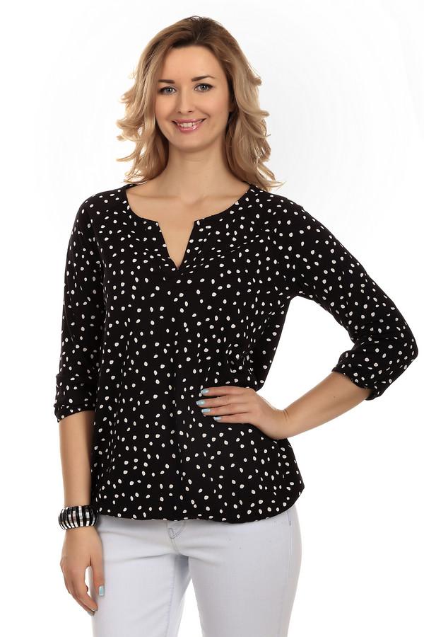 Блузa Tom TailorБлузы<br>Модная женская блуза бренда Tom Tailor. Это блуза черного цвета в белый горошек. Изделие дополнено рукавом три четверти, а также небольшим V-образным вырезом. Изделие изготовлено из материала, который на 50% состоит из хлопка, и на 50% из модала.<br><br>Размер RU: 40-42<br>Пол: Женский<br>Возраст: Взрослый<br>Материал: хлопок 50%, модал 50%<br>Цвет: Белый
