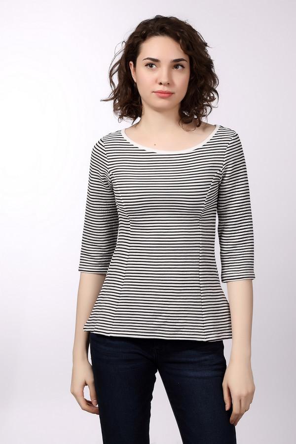 Блузa Tom TailorБлузы<br>Женская блуза бренда Tom Tailor, приталенного кроя, с глубоким круглым вырезом и рукавом длиной три четверти. Изделие пошито из ткани в черно-белую полоску, которая на 69% состоит из полиэстера и на 31% из хлопка.<br><br>Размер RU: 38-40<br>Пол: Женский<br>Возраст: Взрослый<br>Материал: хлопок 31%, полиэстер 69%<br>Цвет: Чёрный