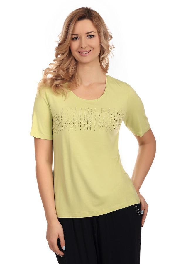 Футболка LebekФутболки<br>Классическая женская футболка Lebek желтого цвета. Футболка украшена замечательным оригинальным узором из страз. Глубокое декольте поможет показать вашу женственную шею и ключицы. Такая футболка будет уместна и на отдыхе и в офисе, если удачно скомбинировать ее с пиджаком или жакетом. Это универсальный вариант для женщин разного возраста и статуса.<br><br>Размер RU: 46<br>Пол: Женский<br>Возраст: Взрослый<br>Материал: эластан 8%, вискоза 92%<br>Цвет: Жёлтый