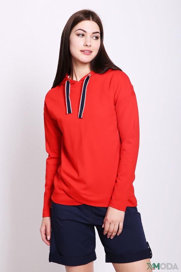 Пуловер Betty BarclayПуловеры<br>Пуловер женский красного цвета от бренда Betty Barclay. Модель выполнена прямым фасоном. Изделие дополнено округлым воротом с капюшоном на тесьму, втачными, длинными рукавами. Состав ткани: 5% эластан, 70% вискоза, 25% полиамида. Сочетать можно с различными брюками.
