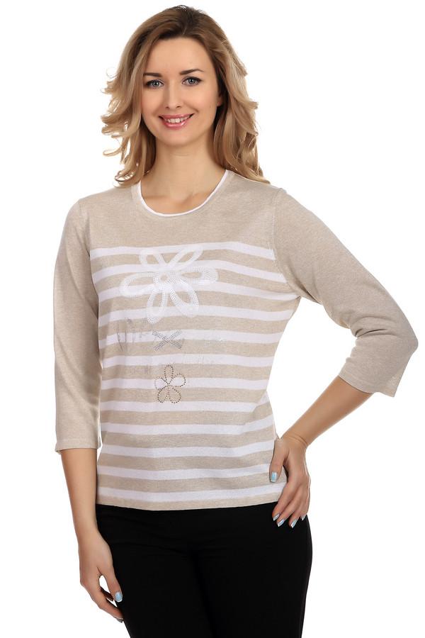 Пуловер Rabe collectionПуловеры<br>Модный пуловер для женщин от бренда Rabe collection. Данный пуловер представлен в бежевом цвете в белую полоску. Он декорирован пайетками белого цвета в виде цветов, а также серебристыми и золотистыми стразами. Изделие дополнено: круглым вырезом и рукавом три четверти. Основной процент материала составляет вискоза, благодаря которой пуловер мягкий и приятный к телу.<br><br>Размер RU: 50<br>Пол: Женский<br>Возраст: Взрослый<br>Материал: вискоза 75%, полиэстер 25%<br>Цвет: Разноцветный