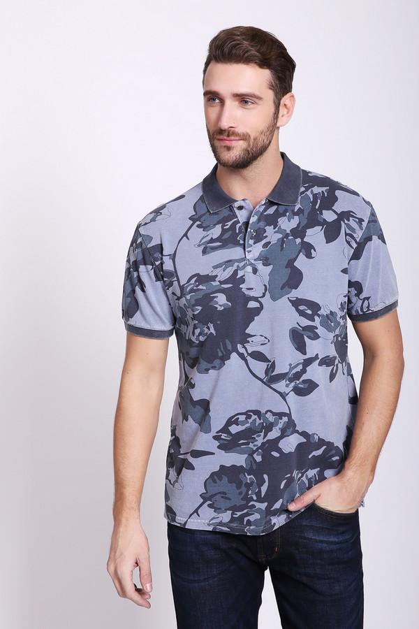 Поло PezzoПоло<br>Поло мужское серого цвета фирмы Pezzo. Модель выполнено откладным воротом, застежка на пуговицы, втачными, короткими рукавами. Ткань имеет разноцветный принт. Состав ткани: 100% хлопок. Комбинировать можно с различными брюками.