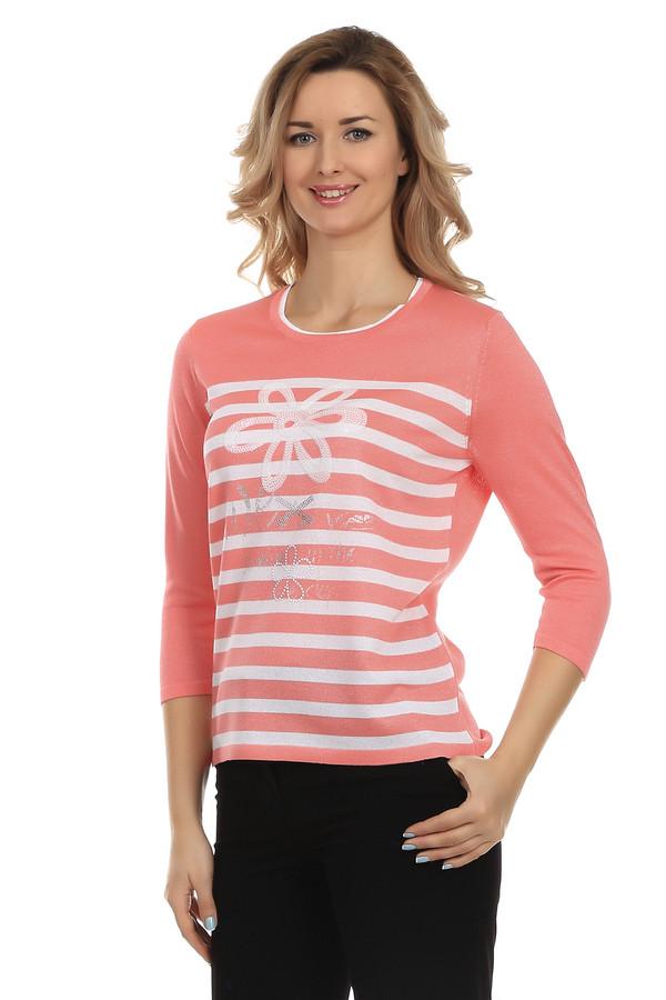 Пуловер Rabe collectionПуловеры<br>Пуловер Rabe collection оранжевого цвета, украшенный принтом на груди и полосатым узором. На передней части пуловера изображены цветы и надписи, выложенные из пайеток белого и серебряного цвета. Изделие дополнено: круглым вырезом и рукавами 3/4.<br><br>Размер RU: 52<br>Пол: Женский<br>Возраст: Взрослый<br>Материал: вискоза 75%, полиэстер 25%<br>Цвет: Белый