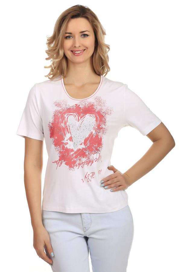 Футболка Rabe collectionФутболки<br>Футболка Rabe collection белого цвета с романтическим принтом в виде сердца на передней части футболки. Принт выполнен розовым цветом и украшен блестящими стразами и блестками. Изделие дополнено: u-образным вырезом и короткими рукавами. Футболка изготовлена из вискозы с добавлением эластана.<br><br>Размер RU: 52<br>Пол: Женский<br>Возраст: Взрослый<br>Материал: эластан 8%, вискоза 92%<br>Цвет: Розовый