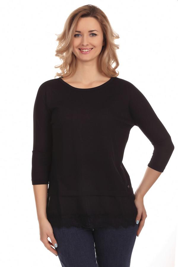 Футболка LerrosФутболки<br>Оригинальная женская футболка от бренда Lerros. Футболка представлена в черном цвете и сшита из полиэстера с добавлением вискозы и небольшого процента эластана. У данной модели круглый вырез и рукав три четверти. Она дополнена снизу слоем прозрачной ткани, который декорирован кружевом.<br><br>Размер RU: 44<br>Пол: Женский<br>Возраст: Взрослый<br>Материал: эластан 5%, вискоза 33%, полиэстер 62%<br>Цвет: Чёрный