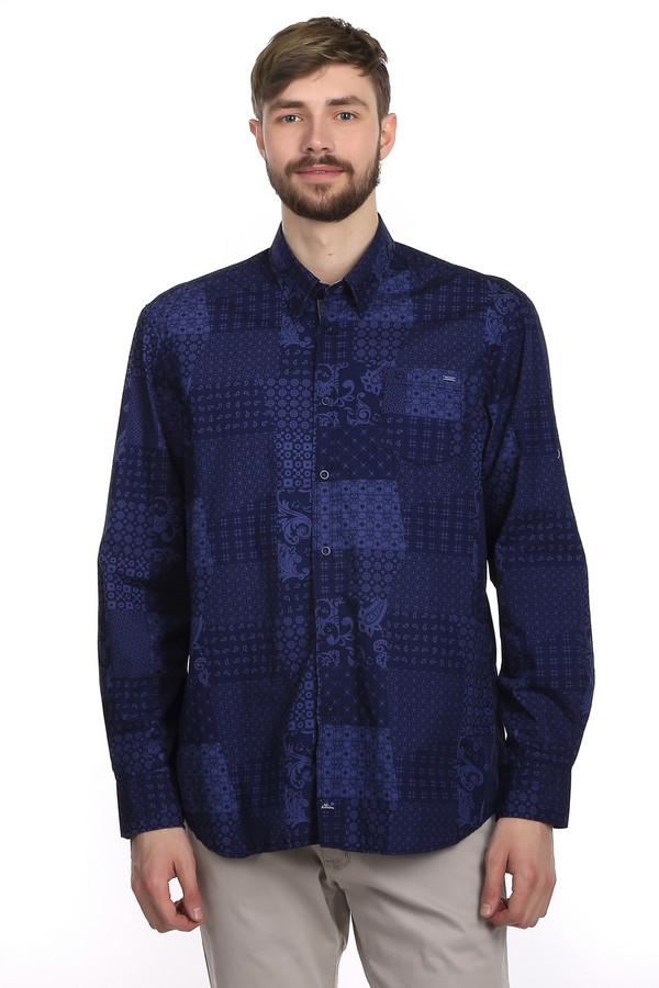 Рубашка с длинным рукавом LerrosДлинный рукав<br>Модная рубашка для мужчин от бренда Lerros. Эта рубашка темно-синего цвета с узорами в стиле пэчворк. Она сшита по классическому слегка свободному покрою. У этой рубашки длинный рукав и отложной воротник. Данная рубашка выполнена из материала, который на 100% состоит из хлопка приятного на ощупь и дарит вам ощущения комфорта в течении всего дня.<br><br>Размер RU: 48-50<br>Пол: Мужской<br>Возраст: Взрослый<br>Материал: хлопок 100%<br>Цвет: Синий