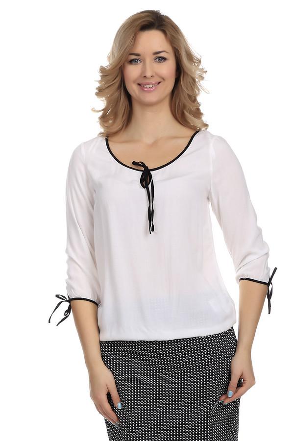 Блузa LerrosБлузы<br>Вискозная женская блуза от бренда Lerros выполнена в белом цвете. Блуза свободного кроя. Изделие дополнено: u-образным широким вырезом и рукавами 3/4 с завязками. Ворот и манжеты оформлены контрастно черной оторочкой. Идеально дополнит повседневный стиль.<br><br>Размер RU: 42<br>Пол: Женский<br>Возраст: Взрослый<br>Материал: вискоза 100%<br>Цвет: Чёрный