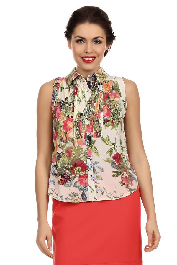 Блузa LocustБлузы<br>Яркая, цветастая блуза-безрукавка Locust с отложным воротником со стойкой. Блуза сделана из легкой ткани и украшена мелкими оборками на груди. Застегивается на пуговицы до самого горла. Покрой блузы очень простой сверху и очень неординарный снизу - спереди блуза короткая, а сзади прикрывает бедра. Она годится как для отдыха, так и для работы, потому что очень удобная и в то же время нарядно выглядит.<br><br>Размер RU: 44-46<br>Пол: Женский<br>Возраст: Взрослый<br>Материал: эластан 5%, полиэстер 95%<br>Цвет: Разноцветный