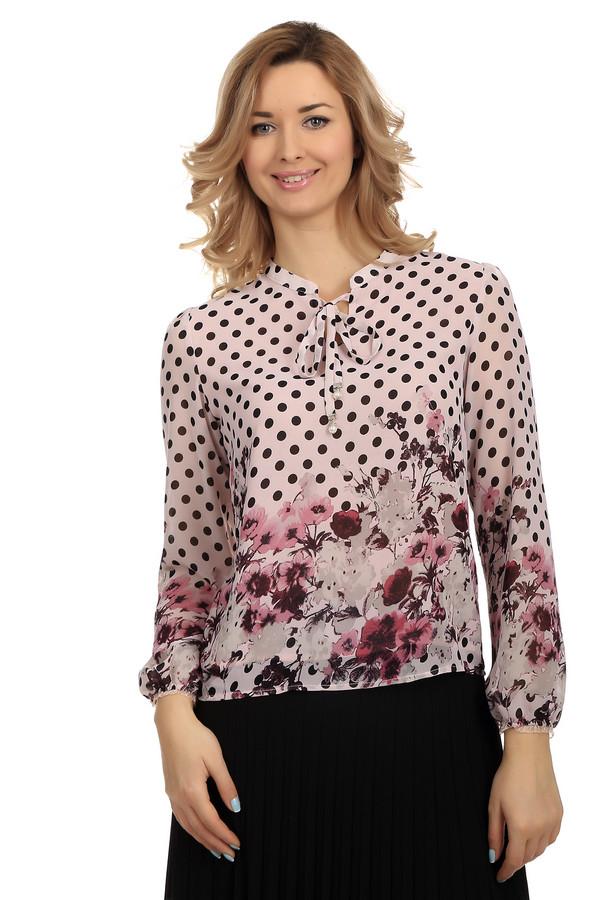 Блузa LocustБлузы<br>Милая, романтичная легкая блуза с длинными рукавами из полиэстера. Такая вещь незаменима в сильную жару. Верх блузы украшен принтом в крупный черный горошек, внизу – легкий цветочный принт на нежном розовом фоне. Завязки на декольте украшены искусственным жемчугом и стразами. Блуза свободного покроя, отлично смотрится как на выпуск, так и в заправленном виде.<br><br>Размер RU: 40-42<br>Пол: Женский<br>Возраст: Взрослый<br>Материал: полиэстер 100%<br>Цвет: Разноцветный