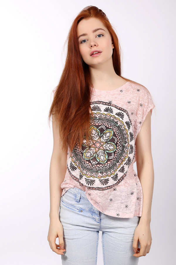 Футболка LocustФутболки<br>Тонкая, приятная к телу футболка с оригинальным этническим рисунком. Стильный выбор для любой девушки. Свободный крой, короткие рукава. Хорошо будет сочетаться с любой одеждой, от  джинсов  до  юбок . Доступна в белом и розовом цветах. В составе футболки вискоза с небольшим добавлением полиэстера, который делает ткань крепче и эластичнее. В такой легкой футболке вы будете чувствовать себя комфортно даже в самую большую жару.<br><br>Размер RU: 40-42<br>Пол: Женский<br>Возраст: Взрослый<br>Материал: вискоза 35%, полиэстер 65%<br>Цвет: Разноцветный