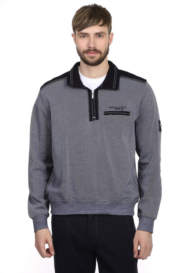 Джемпер Monte CarloДжемперы и Пуловеры<br>Модный пуловер от бренда Monte Carlo для мужчин. Это пуловер серого цвета, дополненный черными вставками на плечах и черным воротником-кадетом на молнии. Изделие дополнено нагрудным карманом и пошито из 100% хлопка.<br><br>Размер RU: 50-52<br>Пол: Мужской<br>Возраст: Взрослый<br>Материал: хлопок 100%<br>Цвет: Разноцветный