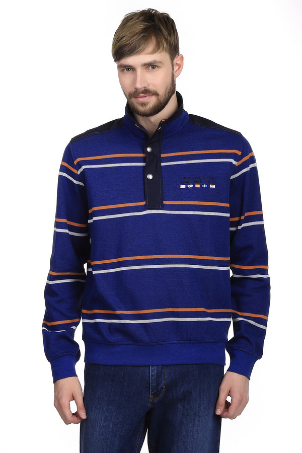 Джемпер Monte CarloДжемперы<br>Стильный мужской джемпер бренда Monte Carlo. Это джемпер синего цвета в оранжевую и белую полоску. Изделие дополнено резинками на рукавах и снизу, а также воротником на пуговицах. Материал изделия - натуральный хлопок.<br><br>Размер RU: 54-56<br>Пол: Мужской<br>Возраст: Взрослый<br>Материал: хлопок 100%<br>Цвет: Разноцветный