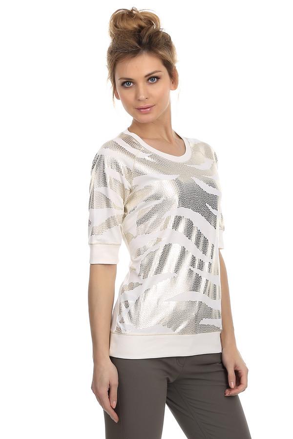 Футболка ApanageФутболки<br>Стильная женская футболка от бренда Apanage. Футболка представлена в белом цвете и декорирована звериным принтом, который выполнен в цвете металлик. Она имеет круглый вырез, рукав длиной до локтя на резинке, а также низ на резинке. Материал - вискоза с добавлением эластана.<br><br>Размер RU: 46<br>Пол: Женский<br>Возраст: Взрослый<br>Материал: эластан 4%, вискоза 96%<br>Цвет: Золотистый