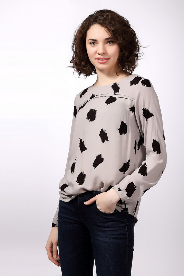 Блузa Tom TailorБлузы<br>Стильная женская блуза бренда Tom Tailor. Это блуза светло-серого цвета, с пятнами черного цвета. У данной модели круглый вырез, длинный рукав, а на спине она застегивается на пуговицу. Материал - 100% вискоза.<br><br>Размер RU: 44<br>Пол: Женский<br>Возраст: Взрослый<br>Материал: вискоза 100%<br>Цвет: Чёрный