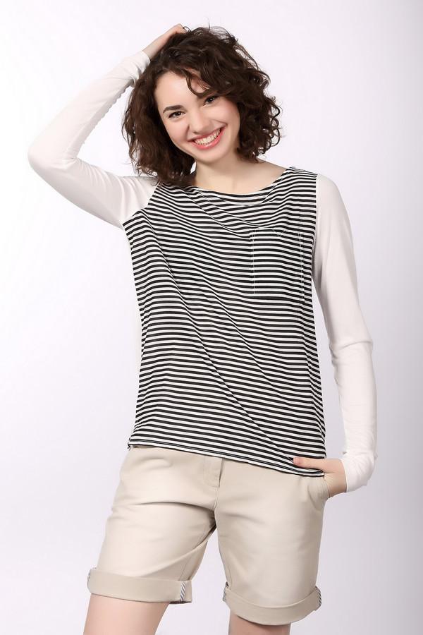 Блузa Tom TailorБлузы<br>Модная женская блуза от бренда Tom Tailor с вырезом-лодочкой. Эта блуза пошита из 100% вискозы, а потому очень мягкая на ощупь. Рукав блузы длинный, сама блуза также слегка удлиненная и дополнена нагрудным карманом. Задняя часть блузы выполнена в белом цвете, а передняя в черно-белую полоску.<br><br>Размер RU: 40-42<br>Пол: Женский<br>Возраст: Взрослый<br>Материал: вискоза 100%<br>Цвет: Чёрный