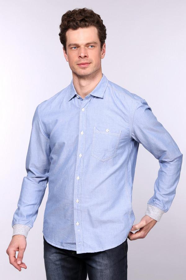 Рубашка с длинным рукавом Tom TailorДлинный рукав<br>Стильная мужская рубашка немецкого бренда Tom Tailor. Данная модель сшита по приталенному крою с отложным воротником, нагрудным карманом и длинным рукавом на серой трикотажной резинке. Рубашка пошита из голубой ткани и прошита белой нитью. Она сделана из 100% хлопка. Оригинальная рубашка идеально будет смотреться с джинсами и сделает ваш образ интересней.<br><br>Размер RU: 43-44<br>Пол: Мужской<br>Возраст: Взрослый<br>Материал: хлопок 100%<br>Цвет: Голубой