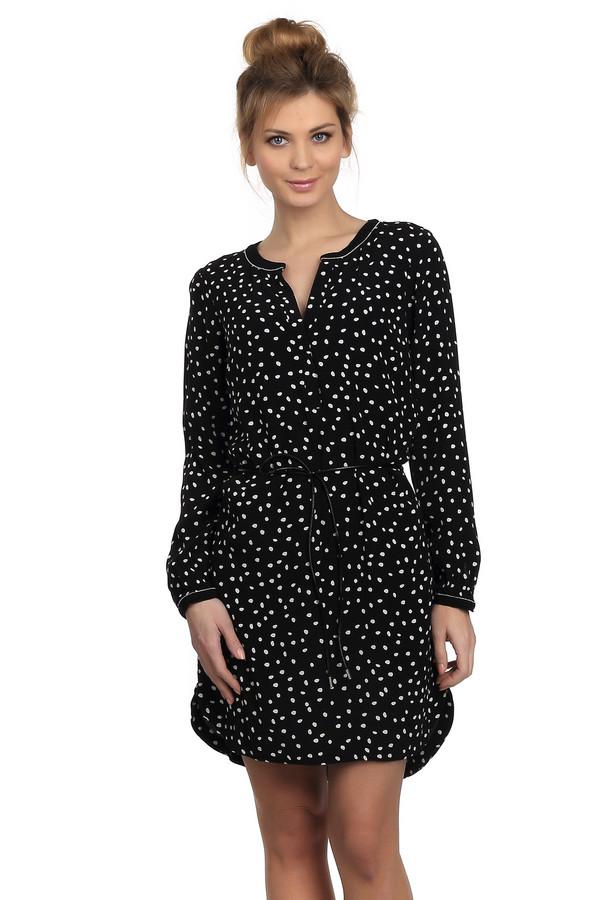 Короткое платье Tom TailorКороткие платья<br>Платье для женщин, от бренда Tom Tailor. Это мешковатое платье длиной до середины бедра, пошитое из 100% вискозы. У данной модели круглый вырез с разрезом и длинный рукав. Изделие выполнено из черной ткани в горошек неправильной формы, и дополнено завязками на талии.<br><br>Размер RU: 40<br>Пол: Женский<br>Возраст: Взрослый<br>Материал: вискоза 100%<br>Цвет: Белый