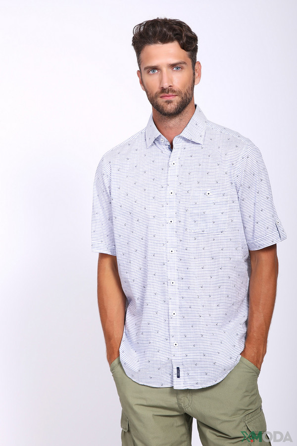 Купить Мужские рубашки с коротким рукавом Casa Moda серого цвета