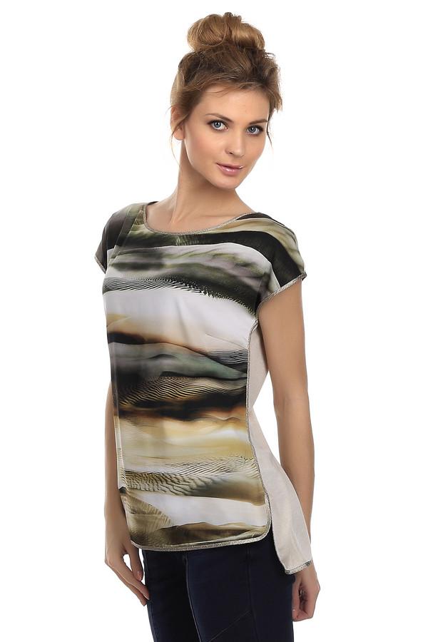 Блузa TuzziБлузы<br>Стильная женская блуза бренда Tuzzi. Изделие изготовлено из полиэстера с добавлением эластана. Фасон блузы очень оригинален: ее задняя часть удлиненная и бежевого оттенка, а передняя с принтом пустыни, украшена окантовкой из серебристого люрекса. Воротник данной блузы классический круглый, а рукав короткий.<br><br>Размер RU: 46<br>Пол: Женский<br>Возраст: Взрослый<br>Материал: полиэстер 97%, эластан 3%<br>Цвет: Разноцветный