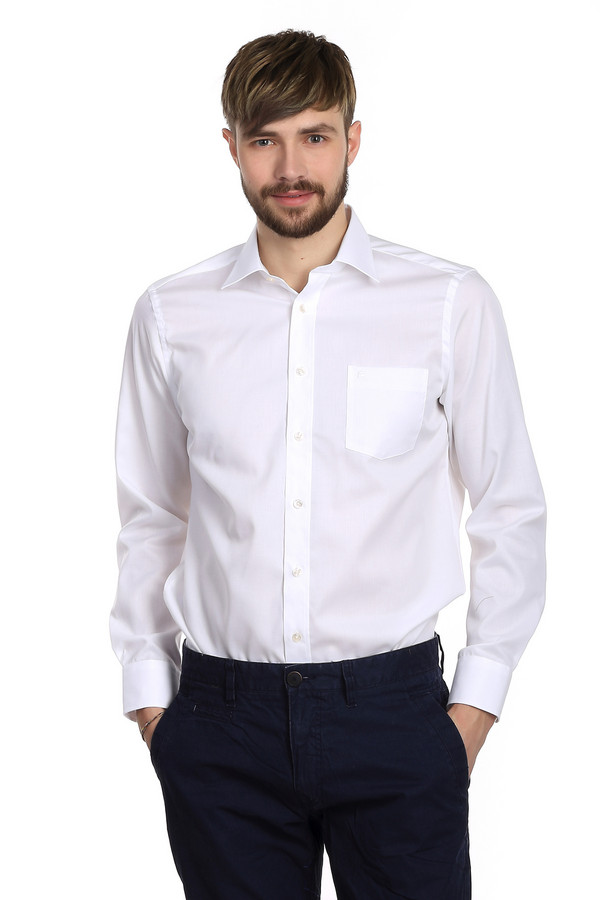 Рубашка с длинным рукавом Casa ModaДлинный рукав<br>Белая рубашка для мужчин от бренда Casa Moda. Это классическая мужская рубашка с длинным рукавом и отложным воротником. У данной модели есть нагрудный карман с небольшой вышивкой эмблемы бренда. На спине рубашки есть две небольшие оборки. Такие рубашки никогда не выходят из моды и легко сочетаются с одеждой абсолютно любого стиля. Они способны освежить и придать солидности образу любого мужчины.<br><br>Размер RU: 50<br>Пол: Мужской<br>Возраст: Взрослый<br>Материал: хлопок 100%<br>Цвет: Белый
