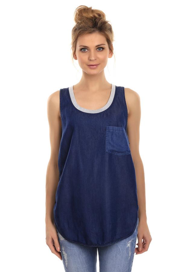 Топ Boss OrangeТопы<br>Стильная женская блуза-майка от бренда Boss Orange. Блуза дополнена боковым нагрудным карманом и резинкой по краю u-образного выреза. Задняя часть блузы - это серо-синяя полоска. Данная блуза изготовлена из легкого летнего материала.<br><br>Размер RU: 42<br>Пол: Женский<br>Возраст: Взрослый<br>Материал: луоселл 100%<br>Цвет: Серый