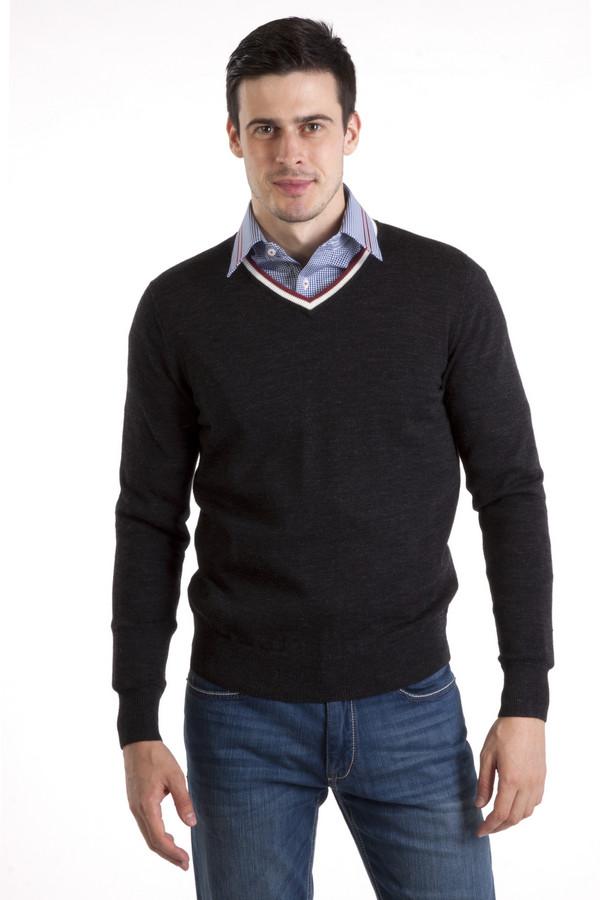 Джемпер PezzoДжемперы<br>Модный мужской джемпер Pezzo темно-серого цвета. Изделие дополнено v-образным вырезом оформленным белой и красной полоской. Ворот, манжеты и нижний кант оформлены трикотажной резинкой.<br><br>Размер RU: 56<br>Пол: Мужской<br>Возраст: Взрослый<br>Материал: шерсть 100%<br>Цвет: Чёрный