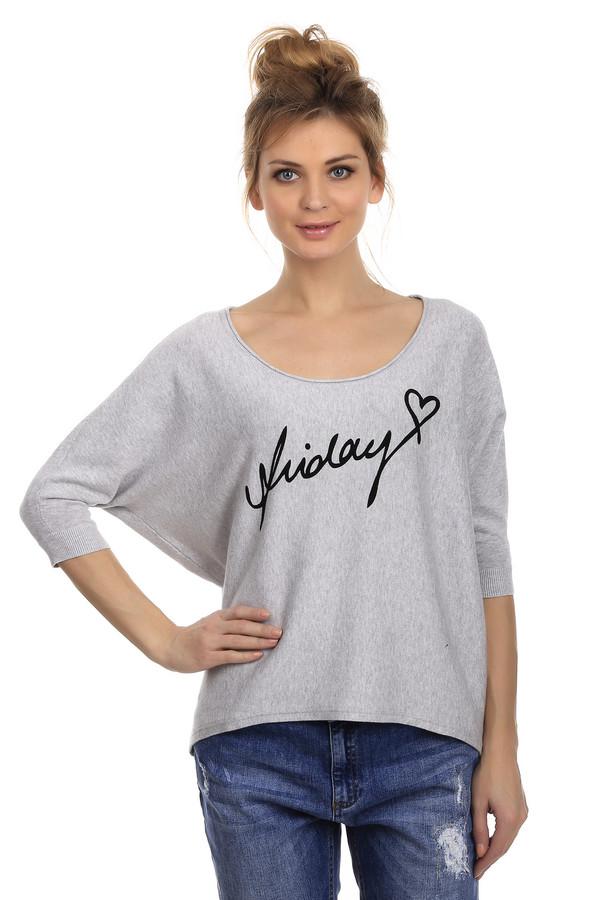 Пуловер Tom TailorПуловеры<br>Женский пуловер от торговой марки Tom Tailor. Это пуловер серого цвета с принтом черного цвета спереди. Данная модель-летучая мышь с ассиметричным низом, дополнена рукавом три четверти, U-образным вырезом и отделкой в виде резинки на рукавах и горловине. Также, модель дополнена эмблемой торговой марки на спине. Состав данного изделия - 100% хлопок.<br><br>Размер RU: 40-42<br>Пол: Женский<br>Возраст: Взрослый<br>Материал: хлопок 100%<br>Цвет: Разноцветный