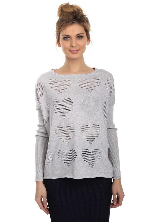 Пуловер OuiПуловеры<br>Женский пуловер от бренда Oui. Данная модель выполнена в сером цвете, с серебристо-серым крупным принтом спереди, и на рукавах . Это изделие с удлиненной линией плеча и длинным рукавом, U-образным вырезом. А также крупной декоративной отделкой в виде сердечек. Материал изделия состоит из хлопка с небольшим процентом полиэстера.<br><br>Размер RU: 42<br>Пол: Женский<br>Возраст: Взрослый<br>Материал: хлопок 95%, полиэстер 5%<br>Цвет: Серый