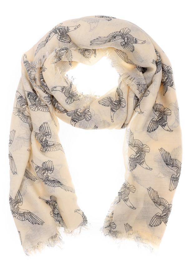 Шарф SetШарфы<br>Интересный женский шарф от бренда Set бежевого и черного цветов. Это изделие было выполнено из полиэстера. Модель предназначена для демисезонного периода. Дополнено изображением птиц черного цвета. Этот шарф можно использовать как шаль или накидку в прохладную погоду. При этом, изделие является стильным решением для повседневного образа.<br><br>Размер RU: один размер<br>Пол: Женский<br>Возраст: Взрослый<br>Материал: полиэстер 100%<br>Цвет: Чёрный
