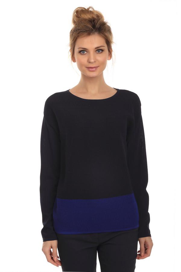 Пуловер Betty BarclayПуловеры<br>Демисезонный пуловер для женщин от бренда Betty Barclay, 65% вискозы с добавлением полиамида. Представлен в черном цвете с широкой синей полосой внизу изделия. Перед выполнен мелкой декоративной вязкой - букле. Эта модель дополнена U-образным вырезом и длинным рукавом.<br><br>Размер RU: 54<br>Пол: Женский<br>Возраст: Взрослый<br>Материал: вискоза 65%, полиамид 35%<br>Цвет: Синий