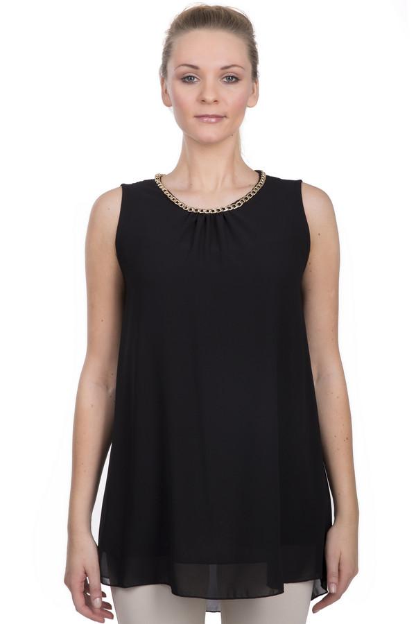 Блузa Sai-KuБлузы<br>Модная женская двухслойная блуза черного цвета, от бренда Sai-Ku. Это блуза-безрукавка свободного покроя, с круглым вырезом и золотистой фурнитурой в виде цепочки. Материал - 100% полиэстер.<br><br>Размер RU: 46<br>Пол: Женский<br>Возраст: Взрослый<br>Материал: полиэстер 100%<br>Цвет: Чёрный