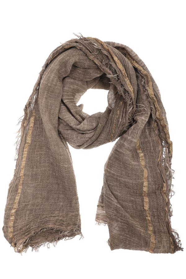 Шарф CodelloШарфы<br>Модный женский шарф от бренда Codello коричневого и золотистого цветов. Эта модель была сделана из хлопка и полиэстера. Данное изделие предназначено для демисезонного периода. Такой шарф отлично сочетается с разными однотонными вещами. Приятный цвет будет хорошим стильным акцент в летнем образе.<br><br>Размер RU: один размер<br>Пол: Женский<br>Возраст: Взрослый<br>Материал: хлопок 97%, полиэстер 3%<br>Цвет: Золотистый
