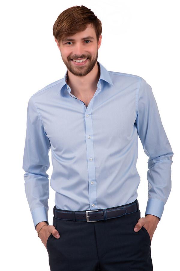 Рубашка с длинным рукавом VentiДлинный рукав<br>Мужская рубашка светло-голубого цвета, сшитая из 100% хлопка. Она выполнена по классическому крою с отложным воротником и длинным рукавом. Изделие дополнено перфорацией и тонкой окантовочной лентой с цветочным принтом по линии застежки.<br><br>Размер RU: 45<br>Пол: Мужской<br>Возраст: Взрослый<br>Материал: хлопок 100%<br>Цвет: Голубой