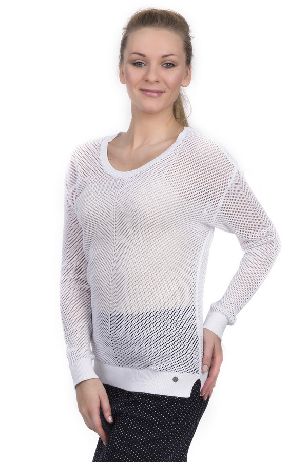 Пуловер LerrosПуловеры<br>Женский пуловер от торговой марки Lerros, белого цвета, с крупной вязкой в виде сетки. Данная модель дополнена длинным рукавом, U-образным вырезом и отделкой в виде резинки на рукавах, горловине и внизу изделия. Также, модель украшена эмблемой торговой марки спереди. Изделие изготовлено из хлопка.<br><br>Размер RU: 48<br>Пол: Женский<br>Возраст: Взрослый<br>Материал: хлопок 100%<br>Цвет: Белый